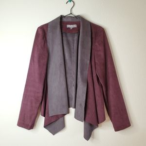 Bagatelle Faux Sued Draped Front Burgundy Jacket